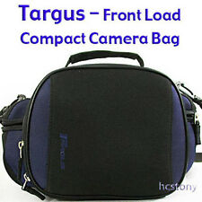 Padded TARGUS Compact to Mid Sz FRONT Load CAMERA BAG w/ Pockets Blue+Black XLNT