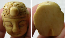 #7 Tibet100%  Natural Bone Hand Carving Buddha Pendant 1 3/8 in or 35.00mm
