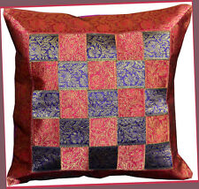 Brocade woven border Hand Made Magenta purple Pillow Cover/Cushion Cover India