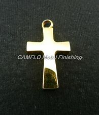 24K Gold Plated Cross Solid Charm Pendant - W/O Necklace