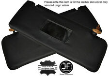BLACK STITCHING 2X SUN VISORS LEATHER COVERS FITS MERCEDES W123 1978-1985