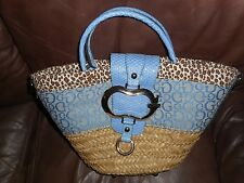 Guess Basket/ Wicker  Blue /Animal Print Purse Handbag Magnetic Snap Close
