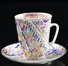 Russian Imperial Lomonosov Porcelain Bone Tea cup & saucer Bright Patterns Gold