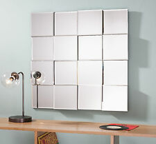 """Allenby Contemporary Angled Blocks Square Overmantle Modern Wall Mirror 27""""x27"""""""