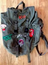 VTG Army Green CANVAS BACKPACK & Patches ROLLING STONES Green Day METALlLICA ETC