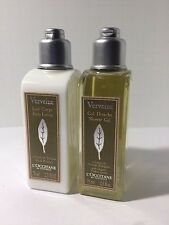 Lot of TWO  L'Occitane Verbena Body Lotion +Shower Gel   2.5 oz EACH