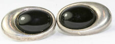 VINTAGE 1980'S STERLING SILVER LARGE BLACK ONYX CUFFLINKS
