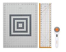 Rotary Cutter Fabric Cutting Mat Set Clear Acrylic Ruler Measuring Grid Fiskars