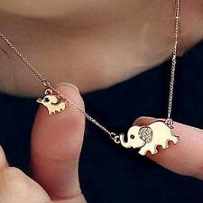 Cute Gold Elephant Pendant Chain Necklace Rhinestone Crystal Jewelry Gift