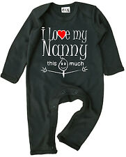 """""""I Love My Nanny This Much"""" Baby Romper Suit Boy Girl Grandmother Granny Nan"""