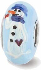 Sterling Silver Reflections Blue Hand Painted Snowman Glass Bead