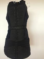 H&M BALMAIN BLACK ROPE DRESS GOLD ZIP SIZE EUR 40, 14UK Brand new with tags.