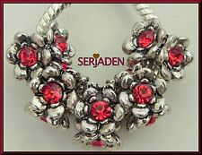 5 Red Stone Antique Silver Charm Spacer fit European Style Jewelry 5mm Hole R147