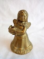 """Vintage Angel Figurine 2.5"""" Solid Brass Holds Mini Tapered Candle"""