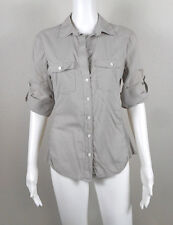 "JAMES PERSE ~ Gray Contrast Panel Tab Sleeve Shirt - Size ""3"" ~ NTSF"