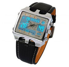 OHSEN Mens Army Military Digital Leather Quartz Watches Homes Montres Reloj