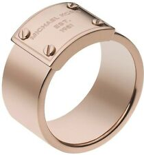 Michael Kors Rose Gold-Tone Logo Plate Ring MKJ2659 Size 6 BNWT & Jewelry Pouch