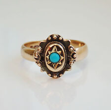 Antique Victorian Scottish Provincial 15ct Gold Turquoise Ring c1885; UK Size J