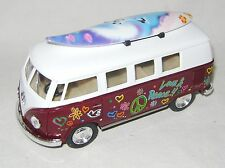 NEW VW VOLKSWAGEN 1962 CAMPERVAN CAMPER VAN BUS 1:32 SCALE BURGUNDY