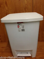 RUBBERMAID WHITE 33qt STEP ON HANDS FREE TRASH CAN WASTEBASKET BIN GARBAGE PAIL