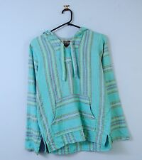 Vintage Baja Hoodie In Light Blue Striped Mexican Hippie Hooded Jacket X-Small