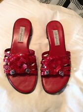 Brighton New Cherry Red Leather Sandal With Flower Center-7M - $49