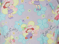 Women's Strawberry Shortcake Themed Scrub Top 3XL Custard Flowers Cute Cuddly