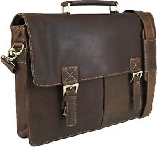 "UNICORN Real Leather 16.4"" Laptop Netbook Bag Messenger Briefcase Brown Khaki#9G"