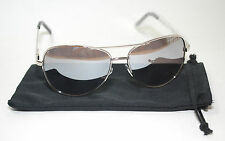 Aviator Large Driving Sunglasses Full Silver Metal Frame Mirror Top Av Uv 400 99