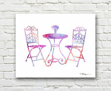 Bistro Set Abstract Watercolor Table and Chairs Painting Art Print by Artist DJR