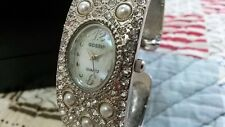 Gossip Quartz Watch Girls Woman Mother of Pearl Face Crystals band SILVERTONE