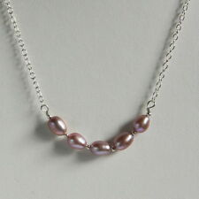Stunning STERLING SILVER 925 NECKLACE Lilac Pink FRESH WATER PEARL HAND MADE