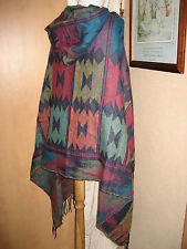 Hooded WRAP PONCHO Festival Aztec Navaho South American Mexican Blanket Cape