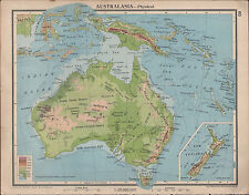 1939 MAP ~ AUSTRALASIA LAND HEIGHTS NEW ZEALAND TASMANIA NEW GUINEA MOLUCCAS