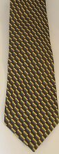 Vintage Gianni Versace Men Neck Tie Brown Blue Geometrical 100% Silk Italy Made