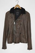 *AWESOME SAUCE* AllSaints Mens DIVERSE Leather Pea Coat / Jacket MEDIUM Waterman