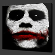 "JOKER HEATH LEDGER MOVIE WALL ART PICTURE BOX IN TELA STAMPA 12 ""x12"" gratis UK P & P"