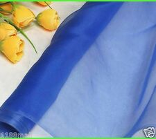 100% Pure Silk Organza Fabric Royal Blue Yardage Tutu Gauz Tulle Material