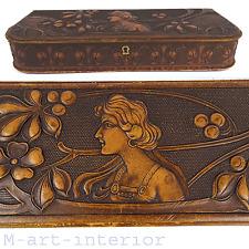 Jugendstil Handschuh-Schatulle Leder floral Relief & Frau Büste, Deutsch um 1900