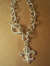 "Womans Necklace Fleur-de-lis  18"" Chain New Genuine Crystal Silver In Color"