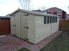 GARDEN SHED TANALISED HEAVY DUTY 16X10 APEX 13MM T&G GARAGE. 3X2.  6FT DOORS.
