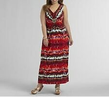 Women's summer cocktail party beach Beaded Maxi Dress knit tie dye plus14WXL new