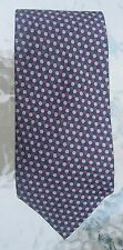 Stackpole Moore & Tryon mens silk necktie gray navy burgubdy honeycomb print