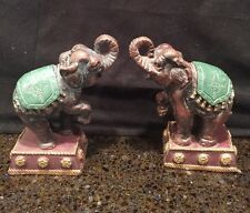 Pair of Vintage  colorful Hand Painted  Circus elephant bookends Trunks Up