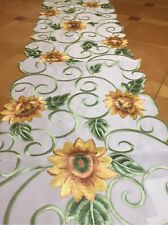 Sunny Embroidered Sunflower Table Runner Yellow Green Flower Country Linens