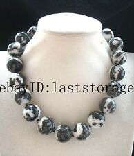 "zebra agate round 20mm black white necklace 17.8"" nature wholesale beads big"