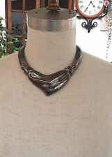 VTG Givenchy necklace French Bold Antiqued Metal Ribbed Collar Signature Runway