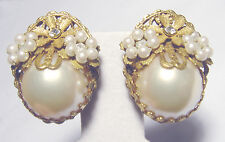 BEAUTIFUL Vintage MIRIAM HASKELL Mabe PEARL Crystal EARRINGS Unsigned