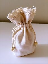 10PCS Small Stand Lace Burlap Hessian Bomboniere Bags