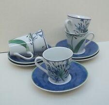 5 tasses avec souscoupes, porcelaine , décor fleurs,vintage  **P3